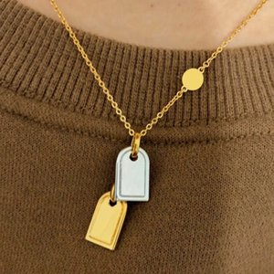 ZB008YX Classic Fashion Brand Gold Silver 2colors Tags Pendants Sexy Clavicle Chain Pendant Necklace Bracelet with Gift Box