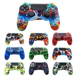 Camouflage Silicon Case Cover Dustproof Sockproof Protective Rubber Skin Colorful Protector for Sony PS4 Wireless Controllers Game Accessories