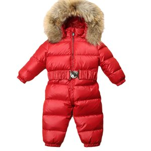 Baby Rompers Winter Newborn Down Coat Bodysuits Infant Babies Clothes Girls Boys Jumpsuit Hooded One Piece Clothing Toddler Outwear Warm Fur Collar Belts B8772