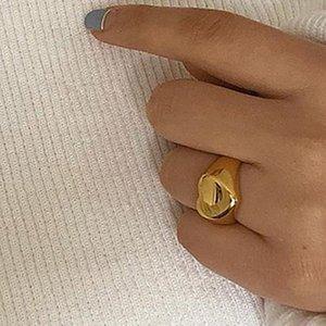 Stainless Steel 18k Plated Tarnish Free Minimal Sweet Jewelry Gift Ladie Stereoscopic Gold Heart Love Rings for Women
