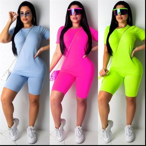 Sale Casual Two Women Tracksuits Piece Set Plain Solid Clothes Short Sleeves Top T shirt Suit