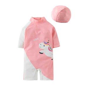 One-Pieces Kids Swimwear Suits Baby Swimming Girls Swimsuit Children Clothing Unicorn Hats 2Pcs B4530