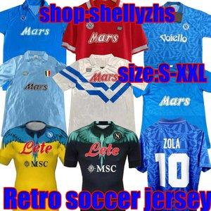 87 88 89 91 93 Retro Napoli Soccer Jersey Camisas Clássicas Maradona 1987 1988 Nápoles Zielinski Hamsik Insigne Football Shirt