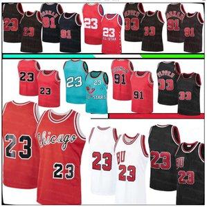 Retro 23 MJ Jersey Scottie 33 Pippen Jerseys Dennis 91 Rodman Jersey 1996 Men's Retro Mesh Basketball Jerseys S-XXL
