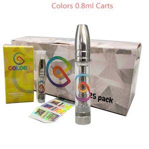 Colors Vape Cartridges 0.8ml 510 Thread Thick Oil Cartridge Empty Atomizers Vapes Carts Metal Tip Glass Tanks Ecigs Vaporizer Pen Packaging Box 10 strains