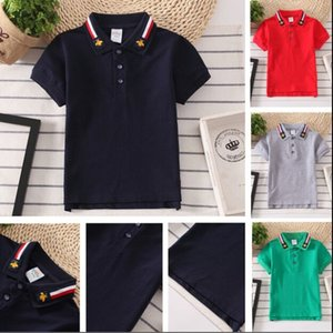 Boys summer Turn-down Collar Polos T-shirt Fashion Striped child clothes Kids Short sleeve 6 color Tees childrens cotton Tops clothing,size 90-165cm