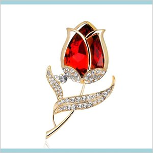 Crystal Tulip Brooch Pins Gold Diamond Flower Dress Business Suit For Women Fashion Jewelry Will And Sandy Zbr9E Qjmiy