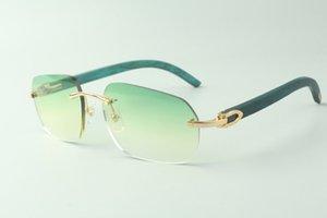 Direct sales designer sunglasses 3524024, teal wooden temples glasses, size: 18-135 mm