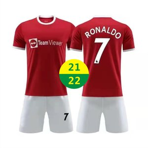 US FAST 2021 2022 Главная Майки Футбольная одежда Красный Роналду # 07 Короткие рукавы Комплекты Униформа Футбол Джерси Униформа Мальчики Девочки Детские Озвучивания Обучение Тренировочная футболка 22 22 С логотипом # MLZ-21B1