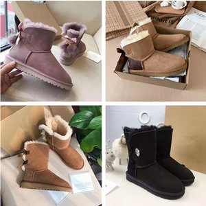 [fashion] designer womens snow boots real wool leather shoes womens boots winter thickened warm low waist and ankle Boots platform boot #2021#35-42 with shoebox