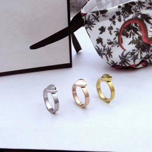 Gold Ring Heart Rings for Women Original Design Top Quality Letter Heart Ring with Stamp Fashion Jewelry