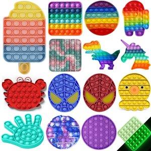 Desktop Fun Ice Cream Shaped Push Bubble POP It Silicone Reusable Toys Children Adult Stress Reliever Fidget Squeeze Board Game