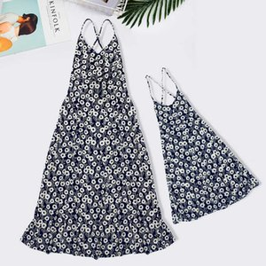2021 beach holiday mother daughter same fashion Lapel shirt dress