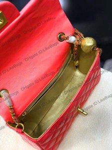 2021 Luxurys Designers Womens Bags Crossbody Pochette Tote Beads Cadeia de Embreagem Letra de Couro Real Bolsas Bolsas Quadrado Correntes Bola Totes Senhoras Bolsa de Ombro