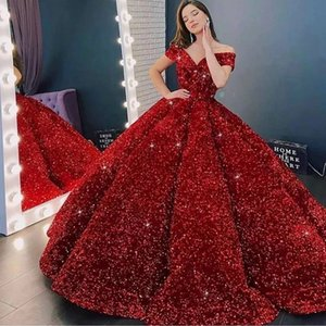 Luxury Ball Gown Sequin Evening Dresses 2021 Women Formal Party Night Off The Shoulder Robe De Soiree Elegant Long Prom Gowns