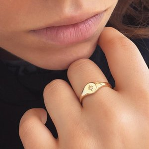 Top Fashion Simple Design Delicate Gold Color Zirconia Star Rings For Women Engagement Wedding Finger Jewelry Cluster