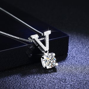 Inbeaut 925 Silver Excellent Cut d Color Pass Diamond Test Letter Pendant 1 Ct Moissanite Necklace Chain