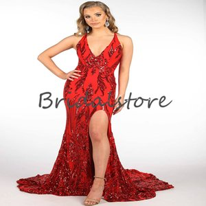 Sparkly Sequin Plus Size Red Prom Dress For African Sexy Deep V Neck Backless Mermaid Evening Dresses Glitter Rose Gold Formal Long Party Gowns robes de soirée 2021