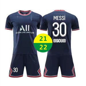 EUA FAST 21 22 Home Jerseys Roupas de Futebol Messi 30 Kit de Manga Curta Conjuntos Jersey 2021 Treinamento para Adultos Tracksuit Crianças Camisas Fardos 2022With Logotipo # BLZ-21B1
