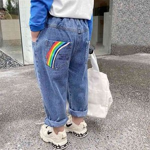 2-7T Jeans For Girls Toddler Kid Baby Clothes Rainbow Print Loose Denim Pants Elegant Sweet Spring Autumn Trousers Streetwear 210331