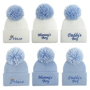 Baby Hat embroidered letter wool ball knitted hats young children's cross-border Winter warm cap mummy's daddy's boy girl princess
