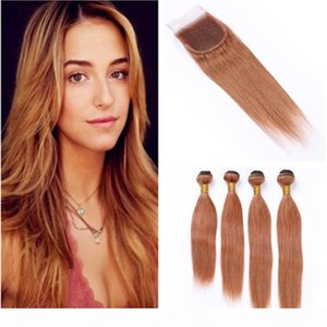 """# 30 Moyen Auburn Virgin Vierge Cheveux Tissu avec fermeture Péruvienne droite Auburn Extensions de cheveux humains 4 Bundle offres de fermeture en dentelle 4x4 """""""