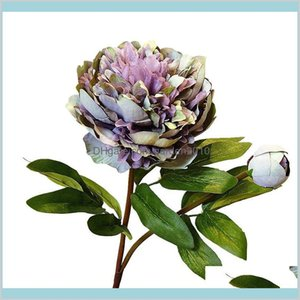 Decorative Flowers & Wreaths Festive Party Supplies Home Garden Versailles Palace Peony Artificial Branch With Leaves Silk Peonies Flo