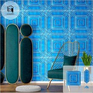 Ice crack blue Tiles handmade mosaic tile hotel restaurant background wall vitrolite arrow brick triangle bricks