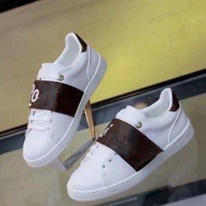 Louis Vuitton Shoes 2021 Белая Натуральная Кожа Открытая Мода Дизайнер Женщины Мужская Черная Сращивание Повседневная Обувь 4 Цвета Низкоуправные кроссовки Размер 36-45
