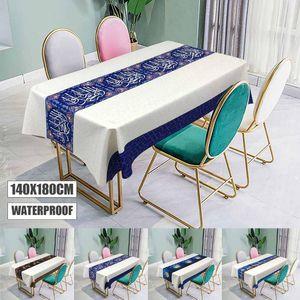 Table Cloth Muslim Eid Mubarak Printed Tablecloth Waterproof Rectangle Dining Kitchen Cover Ramadan Home Decor 140x180cm