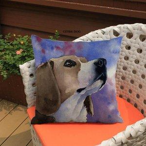 Animal beagle perro pintado acuarela lino cojín almohada cubierta casero sala de estar sofá decoración cojines cubre almohadas perros cojín / decora