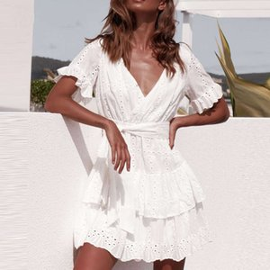 Dresses sets Table work Cats White Summer Women Short Mouw Casual beach Boho Sunflower clock Sexy V-neck Hollow Out Mini skirt Ladies 8WY0