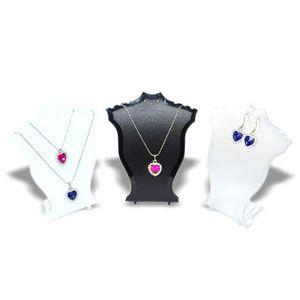 Popular Jóias Display Stand Preto Branco Branco Clear Mini Tamanho Plástico Pescoço Busto Pingente De Colar De Brinco Suporte De Brinco Definido Stand Rack 30 W2