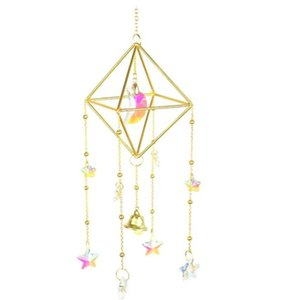 Wholesale Home Decor Handmade Gold Plated Sun Catcher K9 Crystal 25MM Prism Sunshade Window Hanging Decoration Fairy Gift