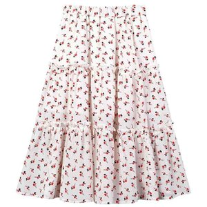 Summer Kids Floral New Teen Chiffon Skirt With Cotton Lining 2021 Girls Clothing Children Midi Skirt, #8757 210331