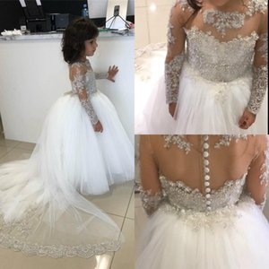 2021 Cute Ballroom Girl Pageant Dresses Jewel Neck Appliqued Beaded Long Sleeves Flower Girl Gowns Ruffle Sweep Train Birthday Gowns