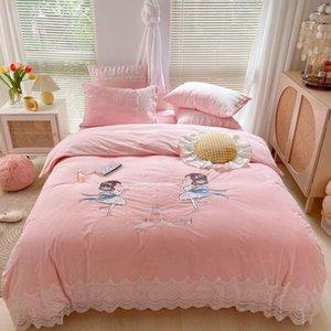Bedding Sets Winter Shaggy Velvet Fleece Cartoon Castle Girl Embroidery Set Lace Quilt Duvet Cover Bed Linen Fitted Sheet Pillowcases