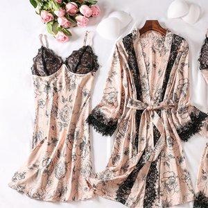 Women's Sleepwear Female 2pcs Nightgown Suit Printed Flower Bride Bridesmaid Wedding Robe Set Sexy Black Lace Trim Sleep Homewear