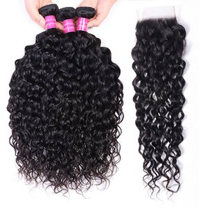 Hair Bundles weaves Water Wave with 4x4 100% Human Remy Hair Extensions