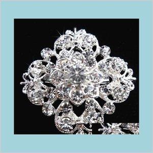 Épingles Bijoux Sier Ton Sier Crystal Crystal Flower Filles Cor mode Broche Broche Mariage Bouquet Bouquet Broches B634 Drop Livraison 202