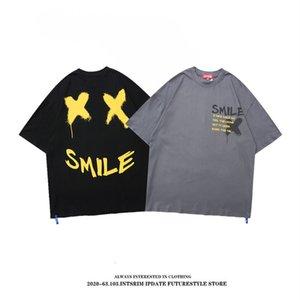 Gaojiechao Brand Letter Graffiti Printed Short T-shirt Men's Trend Hip Hop Lovers Loose Half Sleeve T-shirt