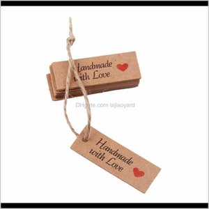 Decoration Fengrise 100Pcs Hand Made With Love Labels Kraft Paper Tags Cake Decorating Gift Wrapping Supplies Wedding Party Favors Dec J9Bwz