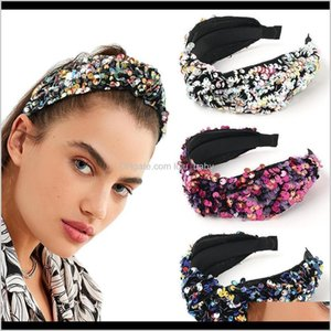 Headbands Jewelry Drop Delivery 2021 Fish Scales Sequins Mesh Hair Ball Show Trend Wide Edge Head Band Fpurn