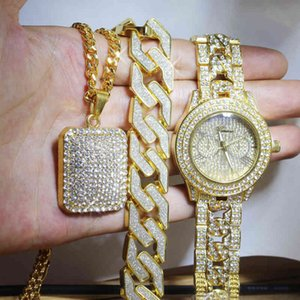Men Hip Hop Full Out Lab CZ AAA Watch Bracelet & Iced Square Necklace Combo Set Jewelry