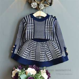 Kids plover case knitted clothing sets girls round collar long sleeve sweater pullover+skirt 2pcs lady style children outfits Q2822