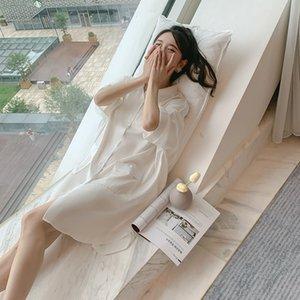 Gecelik 2020 Yeni Tiktok, Beyaz Gömlek, Seksi Pijama, Xia Bing, İpek, İnce Etek, Hırka, Canlı Ev Mobilya.