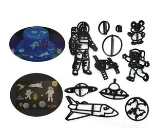 10Sets (11Pcs Set ) Wholesale Space Astronaut Cake Tool Cutter Plunger Mold Fondant Biscuit Printing Embossed Pattern Decorating DIY Kids Handmade Craft Supply