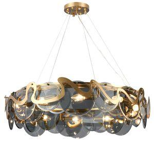 Postmodern light luxury living room pendant lamps designer simple glass dining room lamp bedroom study smoke gray hanging lgihts