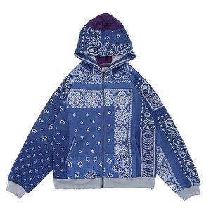 Hoodies Großhändler leicht gestanden Front-Reißverschluss Bandana Paisley Print Hoodie Jacket