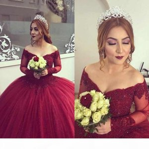 Burgundy Sheer Lace Quinceanera Dresses Long Sleeves 2019 Puffy Ball Gown Beading Appliques Plus Size Sweet 16 Girls Prom Dress